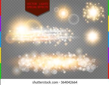 Glow golden light spark set on transparent background. Blur vector sparkles design collection. Explosive flash, sun, flare and shiny cloud.