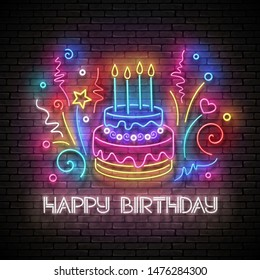 Glow Greeting Card with Cake, Candles, Confetti and Happy Birthday Inscription. Neon Lettering. Shiny Poster, Banner, Invitation. Seamless Brick Wall. Vector 3d Illustration. Clipping Mask, Editable