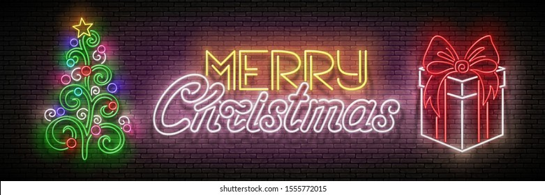 Glow Greeting Card with Christmas Tree, Gifts and Inscription. Happy New Year Holiday Postcard Template. Shiny Neon Poster, Flyer, Banner. Brick Wall. Vector 3d Illustration. Clipping Mask, Editable