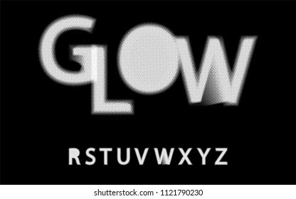 Glow Halftone Font Alphabet R S T U V W X Y Z For Your Design Isolated Characters Vector Element