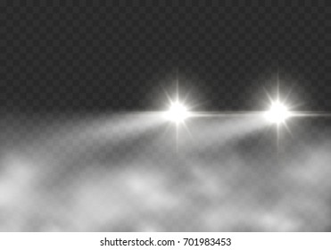 Glow headlight effect in fog isolated on transparent background. Realistic white glow round car headlights in smoke. Vector bright transport lights with mist for your design.