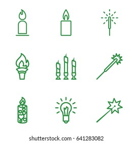 Glow icons set. set of 9 glow outline icons such as candle, sparklers, sparkler, light bulb