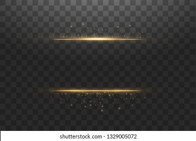 Glow isolated gold transparent effect, lens flare, explosion, glitter, line, sun flash, spark and stars. For illustration template art design, banner for Christmas celebrate, magic flash energy ray