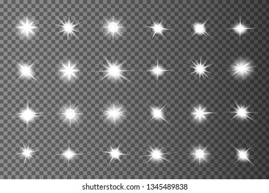 Glow isolated white light effect, lens flare, explosion, glitter, line, sun flash, spark and stars. Abstract special effect element design.