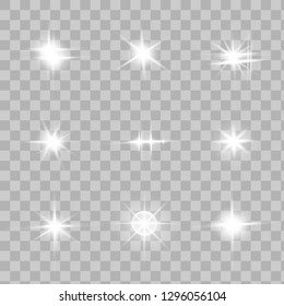 Glow isolated white transparent light effect set, lens flare, explosion, glitter, line, sun flash, spark and stars. Abstract special effect element design.