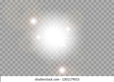 Glow isolated white transparent light effect set, lens flare, explosion, glitter, line, sun flash, spark and stars. Abstract special effect element design. Shine ray with lightning