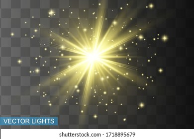 Glow isolated yellow light effect, lens flare