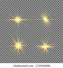 Glow isolated yellow light effect set, lens flare, explosion, glitter, line, sun flash and stars. Abstract special effect element design. Shine ray with lightning. Set of gold bright beautiful stars