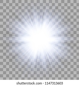 Glow light effect. Star burst with sparkles. Transparent Light Effects Vector illustration EPS10