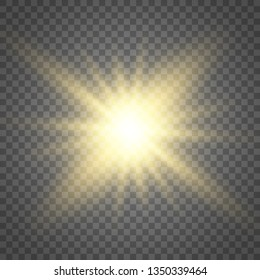 Glow light effect. Star burst with sparkles.Sun. Vector illustration