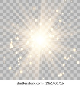 Glow light effect. Star burst with sparkles. Vector illustration.Glowing light burst explosion with transparent. Vector illustration for cool effect decoration with ray sparkles. Bright star.