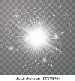 Glow light effect. Star burst with sparkles.Sun. Vector illustration. Christmas flash. dust
