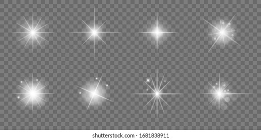 Glow light effect, star burst with sparkles, sunlight, shine glowing on isolated background vector illustration