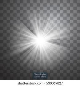 Glow light effect. Star burst with sparkles. Vector illustration. Sun