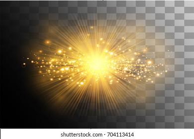 glow light effect. Star burst with sparkles. Gold glitter