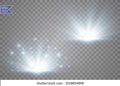 Glow light effect. Starburst with sparkles on transparent background. Vector illustration. Sun