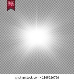 Glow light effect. Starburst with sparkles.