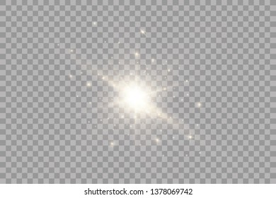 Glow light effect. Starburst with sparkles on transparent background. Vector illustration. Sun.EPS 10