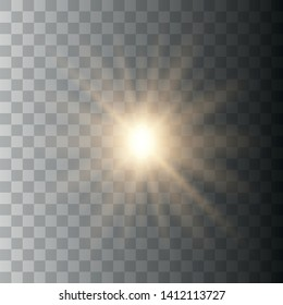 Glow light effect. Starburst with sparkles on transparent background. The star flashed sparks. Vector illustration EPS10.