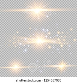 Glow light effect. Vector illustration. Christmas flash Concept. A set of stars, light and radiance, rays and brightness.
