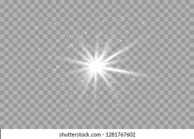 Glow light effect. Vector illustration. Christmas flash Concept. Vector illustration of abstract flare light rays. A set of stars, light and radiance, rays and brightness.