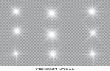 Glow light effect. Vector illustration. Christmas flash Concept. Vector illustration of abstract flare light rays. A set of stars, light and radiance, rays and brightness. Glow light effect.