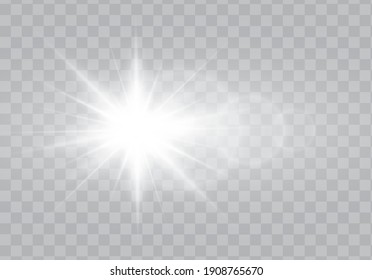 Glow light effect vector. Sparkle with glow light effect. Highlights. Flash light effect. Realistic sunlight vector.