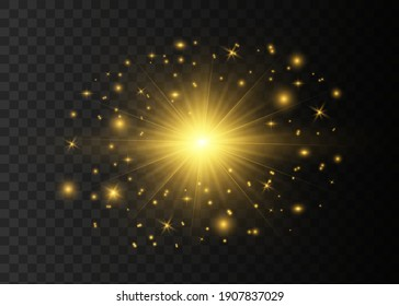 Glow light effect. Vector sparkles on a transparent background. Sparkling magical dust particles.The dust sparks and golden stars shine with special light