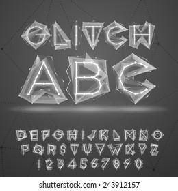 Glow low poly glitch font.