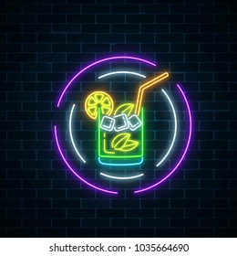 Glow neon symbol of cocktails bar in round frames on dark brick wall background. Glowing gas advertising with caipirinhas shake. Drinking canteen banner. Night club invitation. Vector illustration.