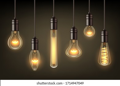 Glow realistic lamps. Incandescent light hang bulb wire vector illustrations set