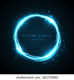 Glow round frame with many shine particles and electricity effect.Vector background. Blue neon light