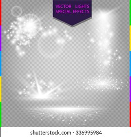 Glow special effect light, flare, star and burst. Isolated spark