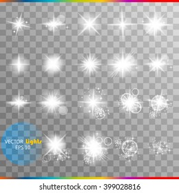 The glow of a special effect of light flash, the star and blast. Isolated spark on a transparent background. Set