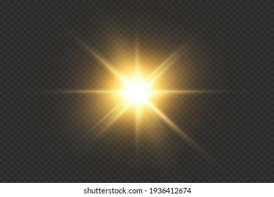 Glow special light effect, flare, star and spark Isolated. Golden Vector light