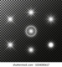 Glow stars set, lighting flare on the isolated background.
