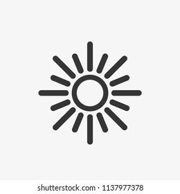 Glow sun icon. Vector illustration.