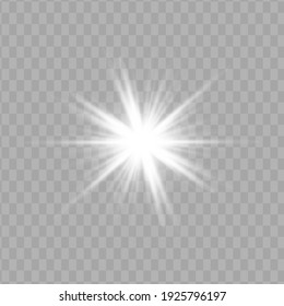 Glow white light effect set, lens flare, explosion, glitter, line, sun flash, spark and stars. Abstract special effect element design.
