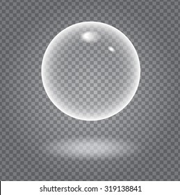 Glow white transparent bubble with light transparent shadow and reflection, shiny sphere upon demonstrative dark gray grid background