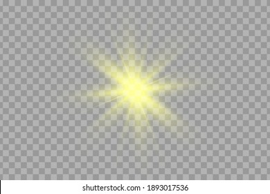 Glow yellow light effect set, lens flare, explosion, glitter, line, sun flash, spark and stars. Abstract special effect element design.