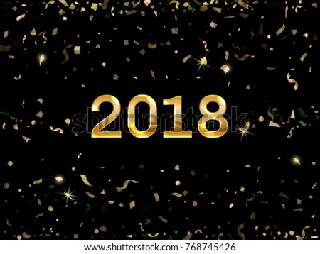 glowing 2018 new year card with gold falling confetti and streamers foil texture gold glitter