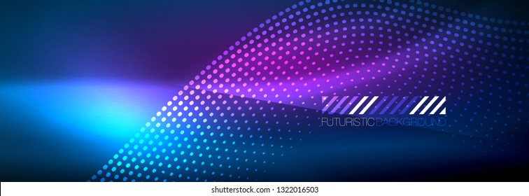 Glowing abstract wave on dark, shiny motion, magic space light. Vector techno abstract background design