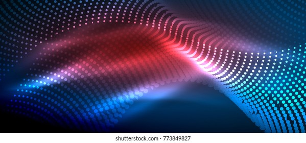 Glowing abstract wave on dark, shiny motion, magic space light. Vector techno abstract background, blue and red colors