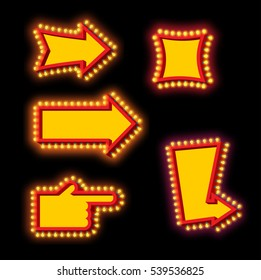 Glowing arrow with blub set. Luminous pointer. Retro cursor with light lamps. Vintage direction marker. Glittering lights