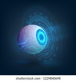 Glowing artificial eye, blue eye of a robot