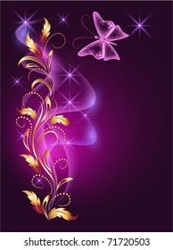 Glowing background with butterfly and golden ornament