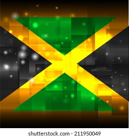 Glowing background design. Techno. Abstract. Used as card, greeting, printed materials. Stock vector. Icon. Image. Picture. Independence Day. State. National. Unusual.  Flag of Jamaica