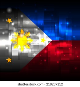 Glowing background design. Techno. Abstract. Used as card, greeting, printed materials. Stock vector. Icon. Image. Picture. Independence Day. State. National. Unusual. The flag of the Philippines
