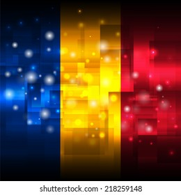 Glowing background design. Techno. Abstract. Used as card, greeting, printed materials. Stock vector. Icon. Image. Picture. Independence Day. State. National. Unusual. Flag of Chad