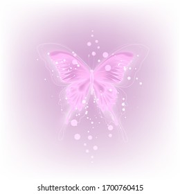 Glowing background with neon purple butterfly on white background